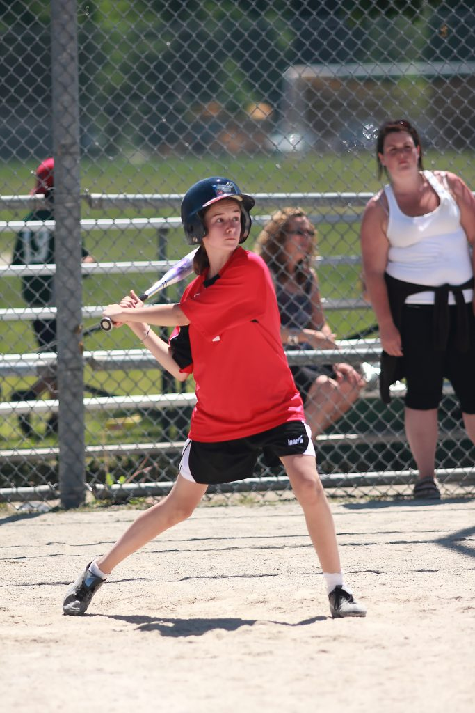 Newton's Grove School Girl playing baseball